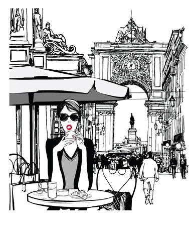 Woman having breakfast in the street of Lisbon - vector illustration