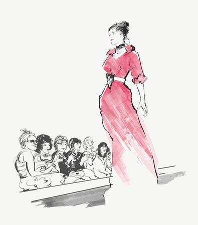 Sfilata di moda modello - illustrazione vettoriale