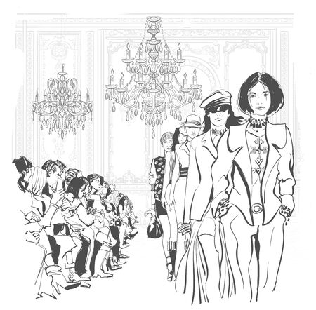 Young fashion models defile - vector illustration
