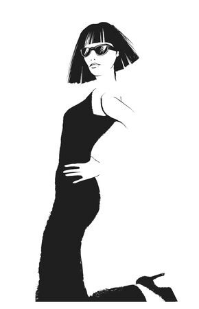 Fashion woman model in black dress - vector illustration