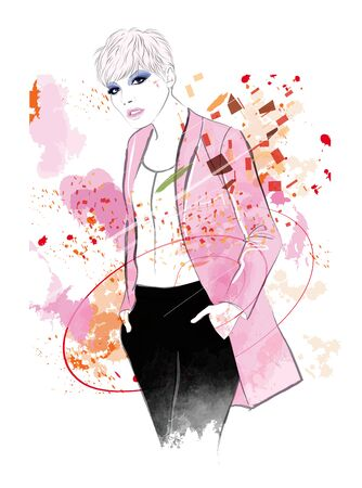 Fashion woman model in a pink jacket - vector illustration