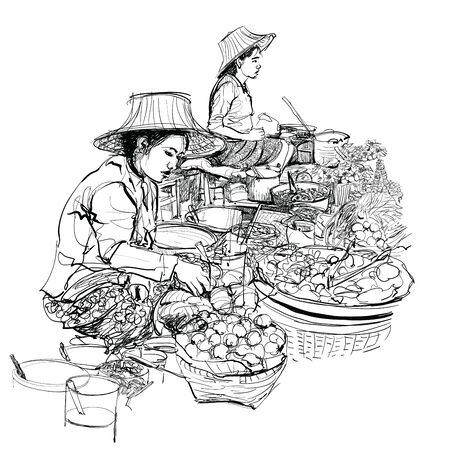 Vendors in a street market in Thailand - vector illustration (Ideal for printing on fabric or paper, poster or wallpaper, house decoration, advertisement)