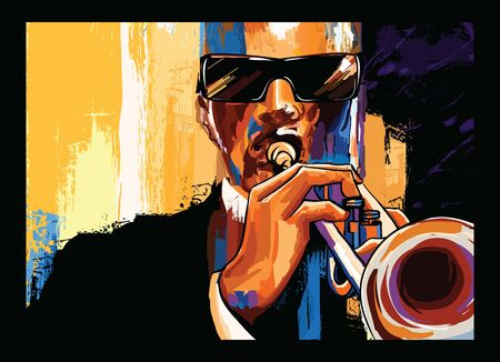 Trumpet player on grunge background - vector illustration (Ideal for printing on fabric or paper, poster or wallpaper, house decoration) Banque d'images - 131824919