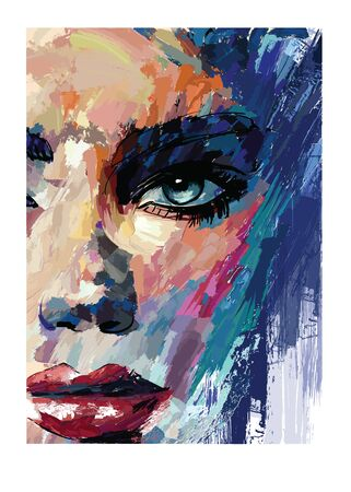young sexy woman or girl with pretty face in knife acrylic painting style - vector illustration (Ideal for printing on fabric or paper, poster or wallpaper, house decoration)