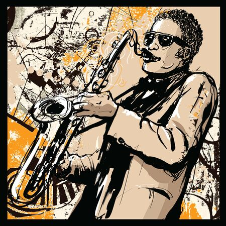 saxophone player on grunge background - vector illustration (Ideal for printing on fabric or paper, poster or wallpaper, house decoration)