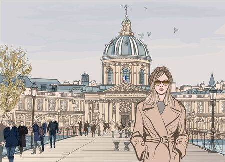 Young woman on Pont des arts in Paris - vector illustration (Ideal for printing on fabric or paper, poster or wallpaper, house decoration)