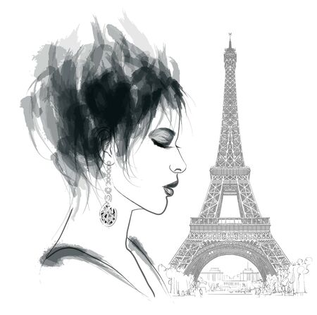 young woman in Paris - vector illustration (Ideal for printing on fabric or paper, poster or wallpaper, house decoration) Portrait is fictitious