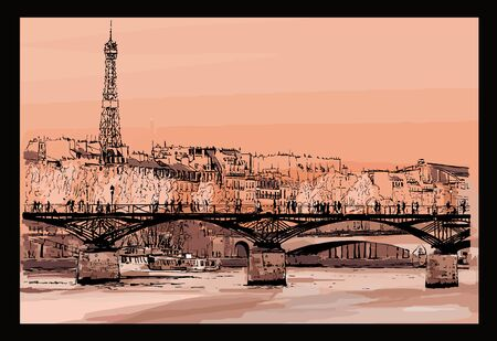 Pont des Arts in Paris - vector illustration (Ideal for printing on fabric or paper, poster or wallpaper, house decoration)