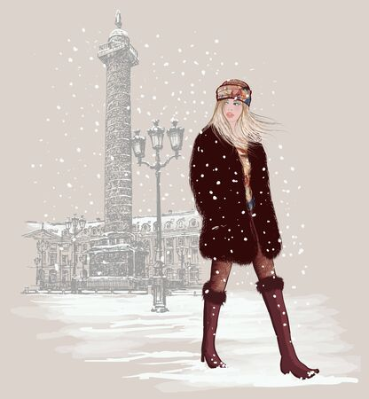 young woman at Vendome square in Paris under snow - vector illustration (Ideal for printing on fabric or paper, poster or wallpaper, house decoration)