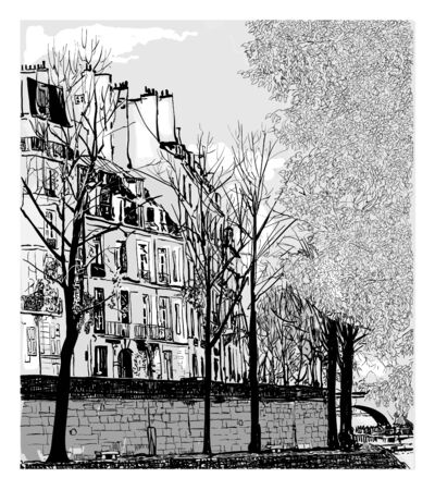 Ile Saint Louis in Paris, France - vector illustration (Ideal for printing on fabric or paper, poster or wallpaper, house decoration)