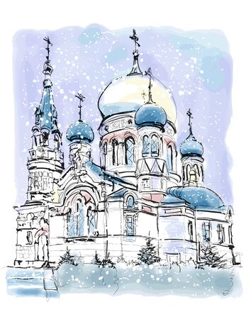 Assumption Cathedral, Omsk in a cold winter. Western Siberia Russia. - vector illustration (Ideal for printing on fabric or paper, poster or wallpaper, house decoration)  イラスト・ベクター素材