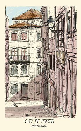 Old street in Porto, Portugal - vector illustration - (Ideal for printing on fabric or paper, poster or wallpaper, house decoration)