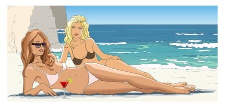 Two women relaxing on beach (cartoon style) - vector illustration