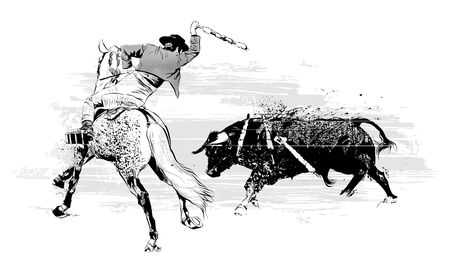 Bullfighter on horse with bull during corrida in Portugal - vector illustration (Ideal for printing on fabric or paper, poster or wallpaper, house decoration)