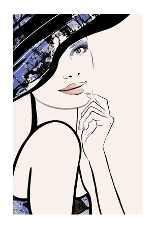 Watercolor representation of a pretty woman with hat - vector illustration (Ideal for printing on fabric or paper, poster or wallpaper, house decoration)