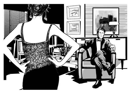 Elegant man on an armchair drinking and woman in dress - vector illustration Vecteurs