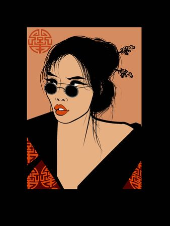 Young pretty asian woman with sunglasses - Vector illustration