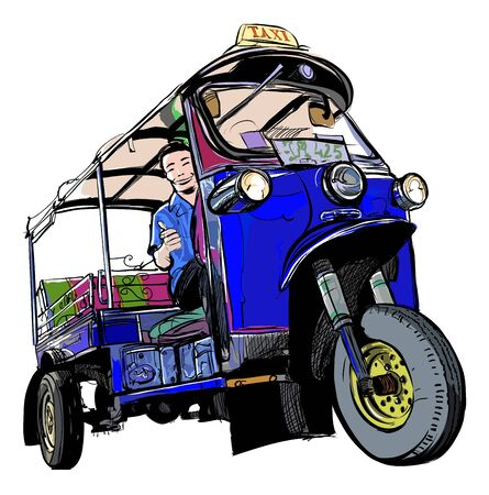 Tuktuk in Thailand - vector illustration (Ideal for printing on fabric or paper, poster or wallpaper, house decoration)