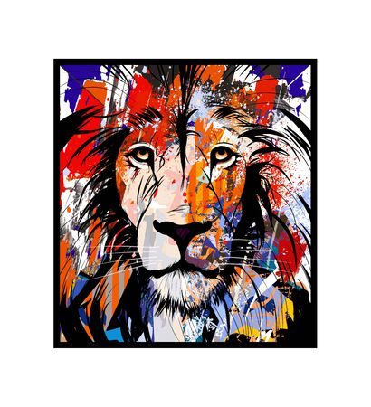 Colorful portrait of a lion - vector illustration (Ideal for printing on fabric or paper, poster or wallpaper, house decoration)