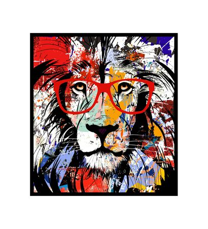 Colorful portrait of a lion with glasses - vector illustration (Ideal for printing on fabric or paper, poster or wallpaper, house decoration) Ilustração