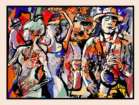 Party people having fun in nightclub with saxophonist and double-bass - vector illustration (Ideal for printing on fabric or paper, poster or wallpaper, house decoration) Landscape totally fictitious