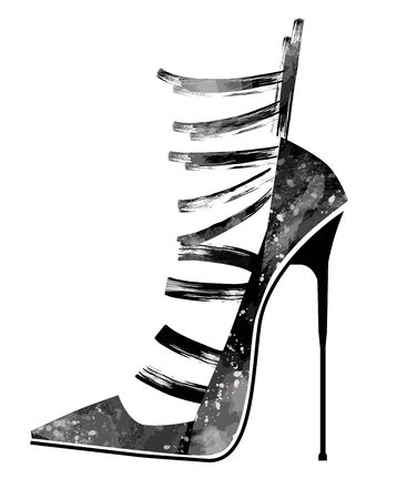 Woman black high heels.- vector illustration (Ideal for printing on fabric or paper, poster or wallpaper, house decoration) Иллюстрация