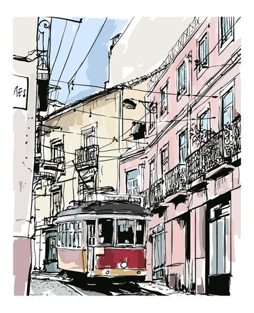Street view with famous old tram in Lisbon city, Portugal - vector illustration (Ideal for printing on fabric or paper, poster or wallpaper, house decoration)