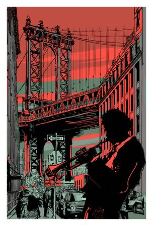 jazz trumpet player in brooklyn - vector illustration (Ideal for printing on fabric or paper, poster or wallpaper, house decoration)