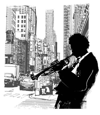 Trumpet player in New York  - vector illustration (Ideal for printing on fabric or paper, poster or wallpaper, house decoration)