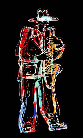 Man playing on saxophone with an hat - vector illustration (Ideal for printing on fabric or paper, poster or wallpaper, house decoration) Stock Illustratie