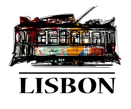 Old classic yellow tram of Lisbon - vector illustration Illusztráció