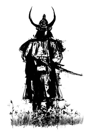 Samurai with sword - vector illustration (Ideal for printing on fabric or paper, poster or wallpaper, house decoration) Illusztráció