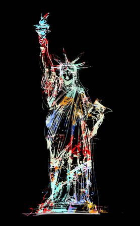 Statue of Liberty, New York, USA - vector illustration (Ideal for printing on fabric or paper, poster or wallpaper, house decoration) Illusztráció