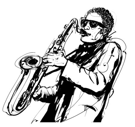 Man playing the saxophone with sunglasses - vector illustration (Ideal for printing on fabric or paper, poster or wallpaper, house decoration)