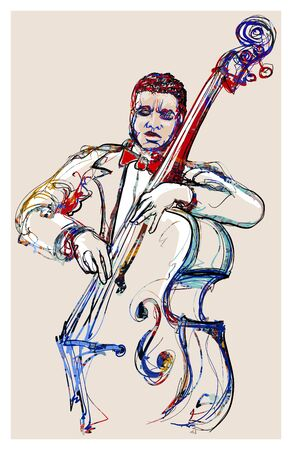 playing double bass . Classical musician jazz bassist - vector illustration (Ideal for printing on fabric or paper, poster or wallpaper, house decoration) Banque d'images