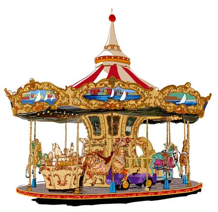 Merry-go-round in Paris - vector illustration (Ideal for printing on fabric or paper, poster or wallpaper, house decoration) Illustration