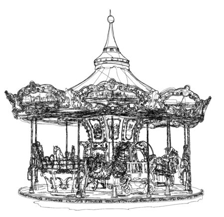 Merry-go-round in Paris - vector illustration (Ideal for printing on fabric or paper, poster or wallpaper, house decoration) Illusztráció