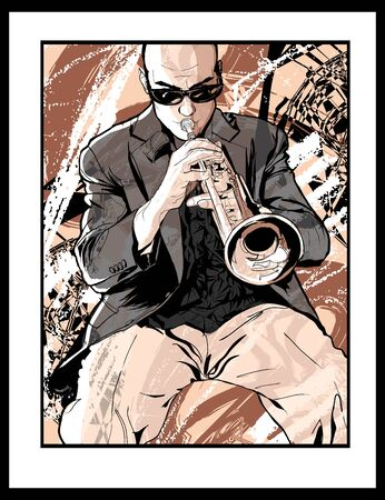 Jazz trumpet player - vector illustration (Ideal for printing on fabric or paper, poster or wallpaper, house decoration)