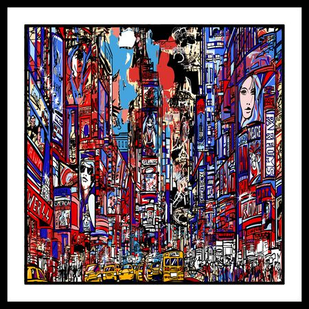 Colorful representation of Times square in New york City - vector illustration (Ideal for printing on fabric or paper, poster or wallpaper, house decoration) Stock fotó