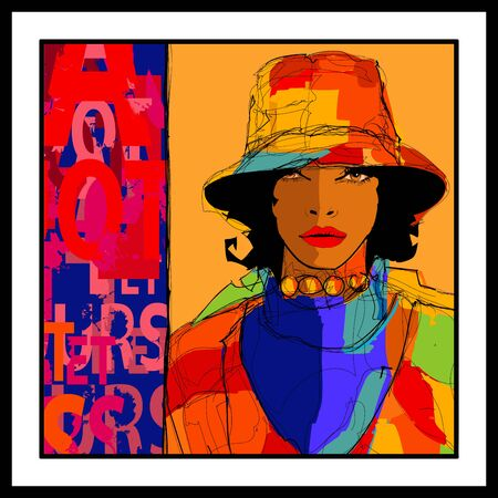 Beautiful young sexy afro-american model with hat -  Style and fashion concept advertising - vector illustration (Ideal for printing on fabric or paper, poster or wallpaper, house decoration)