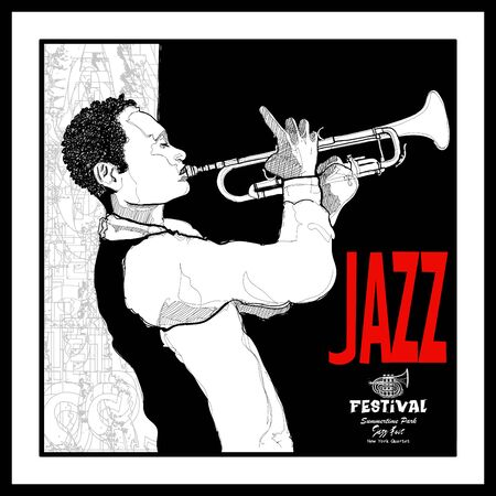 Trumpeter playing. Jazz trumpet player - vector illustration (Ideal for printing on fabric or paper, poster or wallpaper, house decoration)