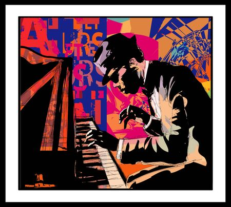 Piano jazz - Male pianist practicing - vector illustration (Ideal for printing on fabric or paper, poster or wallpaper, house decoration) Stock fotó