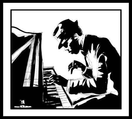 Piano jazz - Male pianist practicing - vector illustration (Ideal for printing on fabric or paper, poster or wallpaper, house decoration) Illusztráció