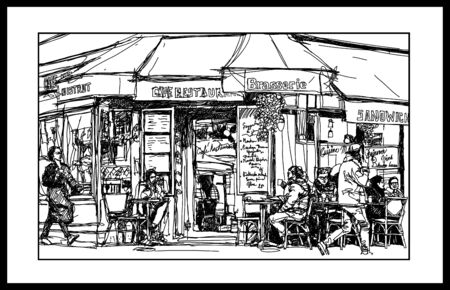 Old cafe in Paris Montmartre - vector illustration (Ideal for printing on fabric or paper, poster or wallpaper, house decoration)