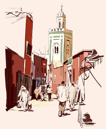 Street market in Marrakech, Morocco - vector illustration (Ideal for printing on fabric or paper, poster or wallpaper, house decoration)