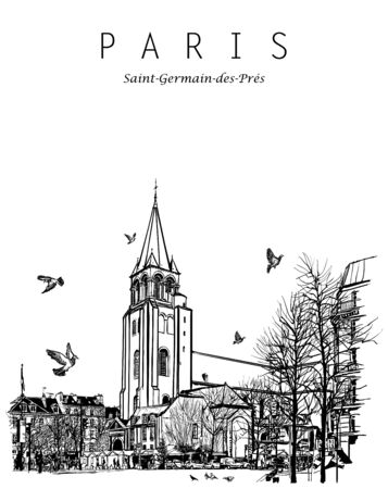 Paris, France - Ancient church of Saint Germain des Pres - vector illustration (Ideal for printing on fabric or paper, poster or wallpaper, house decoration)