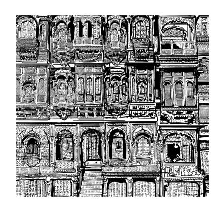 Facade of old house with balconies in Jodhpur, India - vector illustration (Ideal for printing on fabric or paper, poster or wallpaper, house decoration)