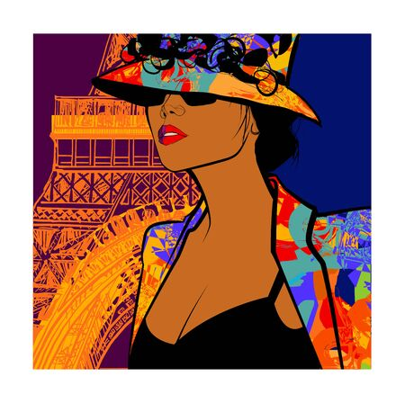 Beautiful young sexy fashion model with hat in Paris -  Style and fashion concept advertising - vector illustration (Ideal for printing on fabric or paper, poster or wallpaper, house decoration)