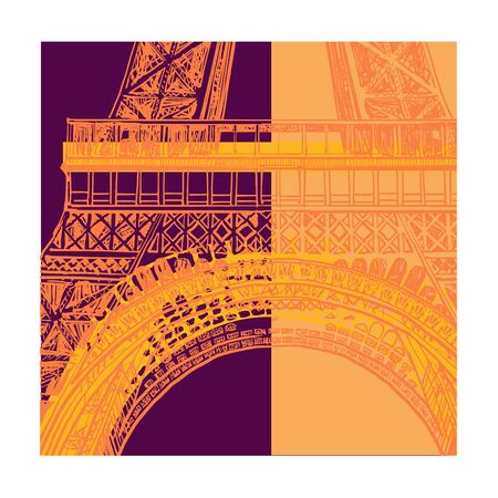 Colorful representation of eiffel tower in Paris - vector illustration (Ideal for printing on fabric or paper, poster or wallpaper, house decoration) Illusztráció