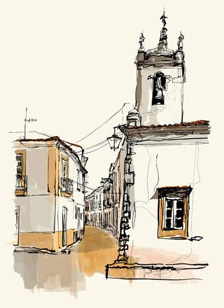 Typical narrow street in a village of  Alentejo Region, Portugal - vector illustration (Ideal for printing on fabric or paper, poster or wallpaper, house decoration)